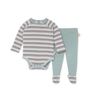 Herbivorous Stripe Organic Baby Bodysuit & Footed Pant Set