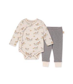 Splashing Ducks Organic Baby Bodysuit & Thermal Pant Set