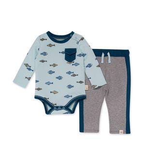 Organic Baby Riverbed Bodysuit & French Terry Pant Set