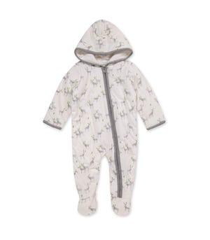 Run Run Reindeer Organic Baby Zip Front Jumpsuit Eggshell 0-3 Months