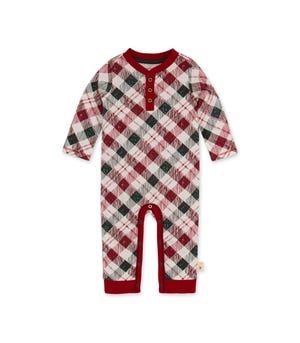 Yuletide Plaid Organic Baby Brother Jumpsuit
