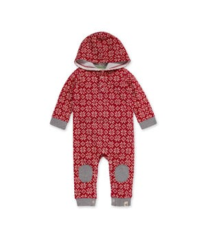 French Terry Twas the Night Fair Isle Organic Baby Hooded Jumpsuit