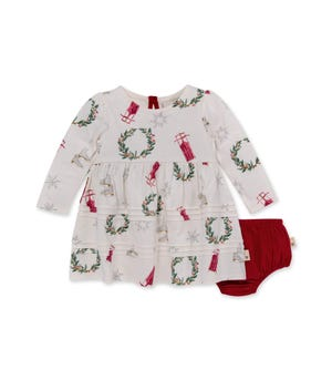 Classic Holiday Organic Baby Dress & Diaper Cover Set Eggshell 12 Months