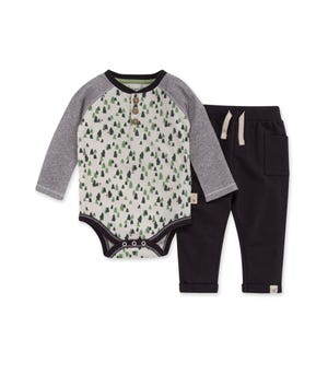 Growing Pines Organic Baby Bodysuit & French Terry Pant Set Zinc 12 Months