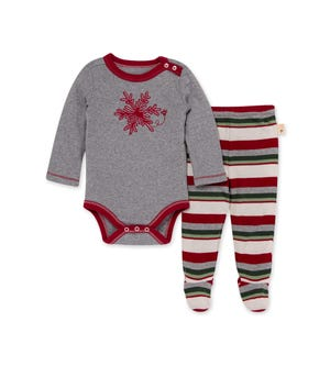Snowflake Flurries Organic Baby Bodysuit & Stripe Footed Pant Set