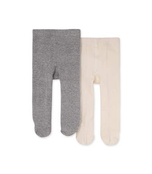 Set of Two Rib Knit Tights Eggshell 6-12 Months