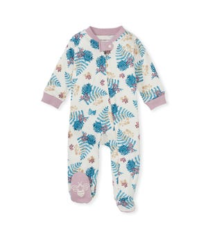 Prehistoric Leaves Organic Baby Sleep & Play Blush Quartz 0-3 Months