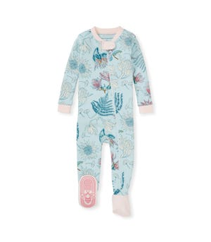 Dinosaur Flowers Organic Baby Zip Front Snug Fit Footed Pajamas