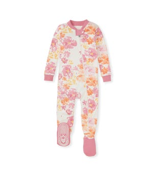 Sunset Bloom Organic Baby Zip Front Snug Fit Footed Pajamas