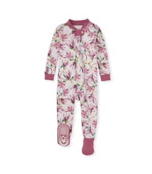 Magnificent Magnolias Organic Baby Zip Front Snug Fit Footed Pajamas