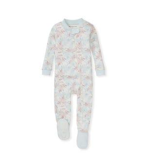 Lasting Leaves Organic Baby Zip Front Snug Fit Footed Pajamas