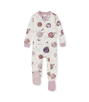 Starry Galaxy Organic Baby Zip Front Snug Fit Footed Pajamas Blush Quartz 12 Months
