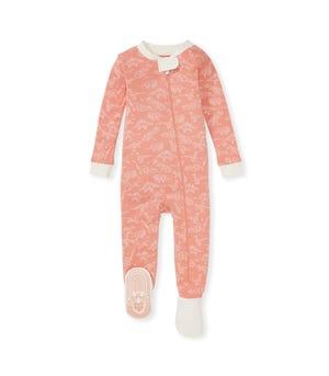 Storybook Saurus Organic Baby Zip Front Snug Fit Footed Pajamas