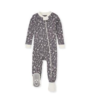 Wacky Alphabet Organic Baby Zip Front Snug Fit Footed Pajamas