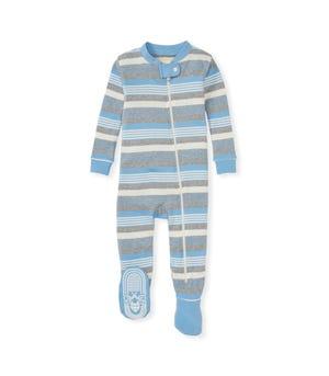 Long Road Stripe Organic Baby Zip Front Snug Fit Footed Pajamas