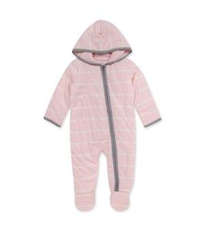 Winter Stripe Organic Baby Zip Front Jumpsuit Blossom 0-3 Months