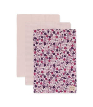 Extra Absorbent Organic Baby Burp Cloths Ditsy Museum Garden 3 Pack