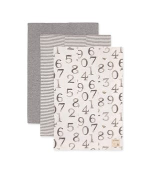 Extra Absorbent Organic Baby Burp Cloths One Two Bee 3 Pack Heather Grey One Size