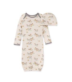 Splashing Ducks Organic Baby Gown & Cap Set