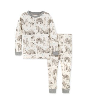 Snowy Explorer Organic Baby Holiday Polar Bear Pajamas Heather Grey 2 Toddler