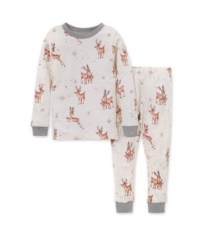 Dasher & Dancer Organic Baby Holiday Pajamas Heather Grey 2 Toddler