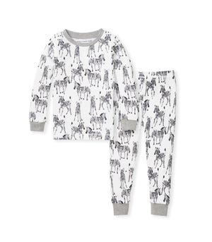 Zebra Herd Snug Fit Organic Toddler Pajamas Heather Grey 2 Toddler