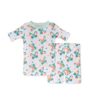 Butterfly Buddies Organic Baby Snug Fit Pajama Short Set Seaglass 2 Toddler