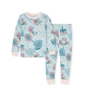 Dinosaur Flowers Organic Toddler Snug Fit Pajamas