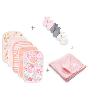 Tossed Succulent Organic Cotton Baby Accessories Bundle