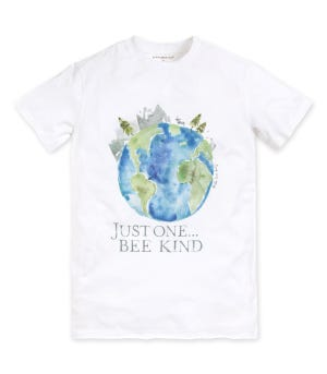 Just one, Bee Kind Earth Day Organic Watercolor Charity T-Shirt