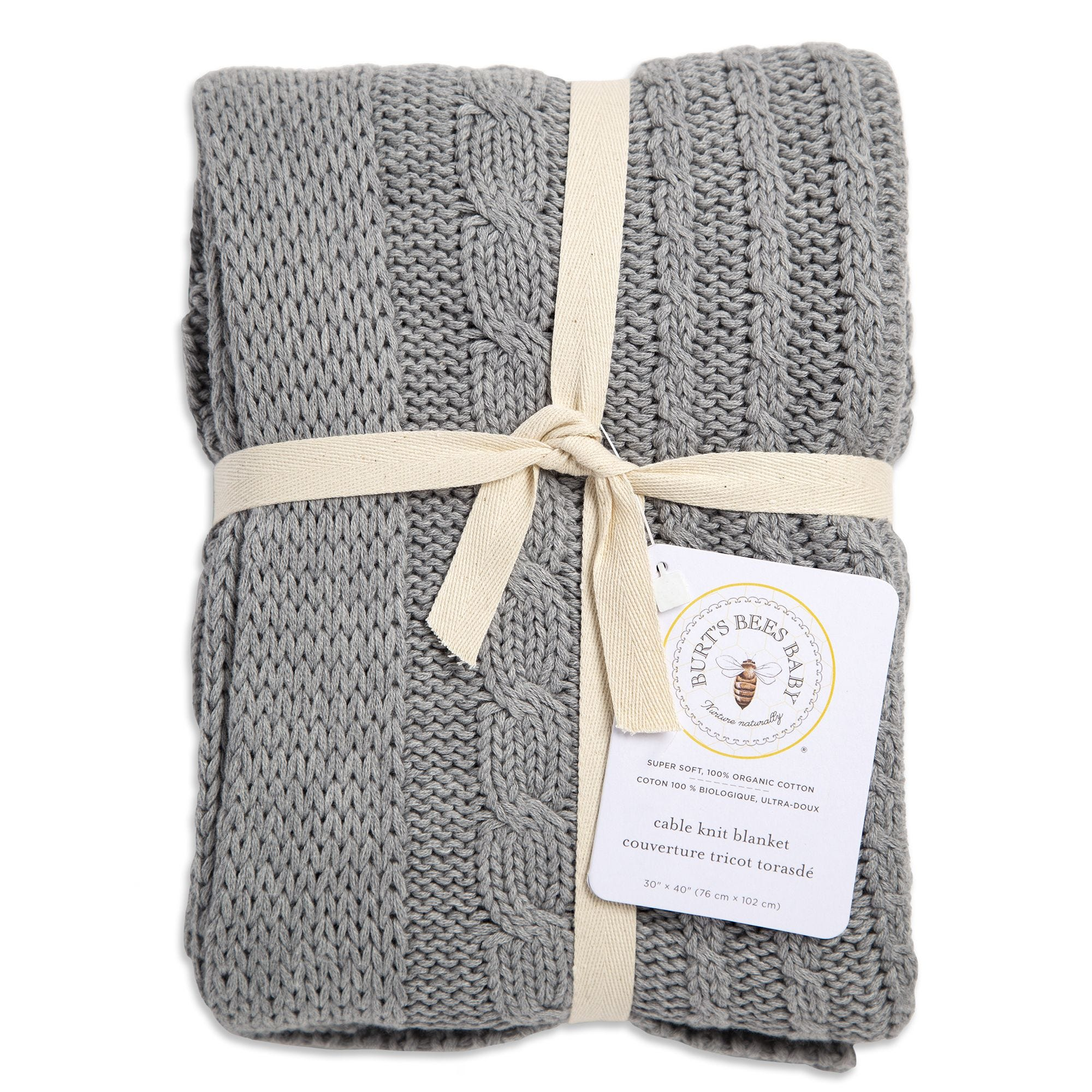 c64106cde78 Organic Cable Knit Organic Baby Sweater Blanket - Grey
