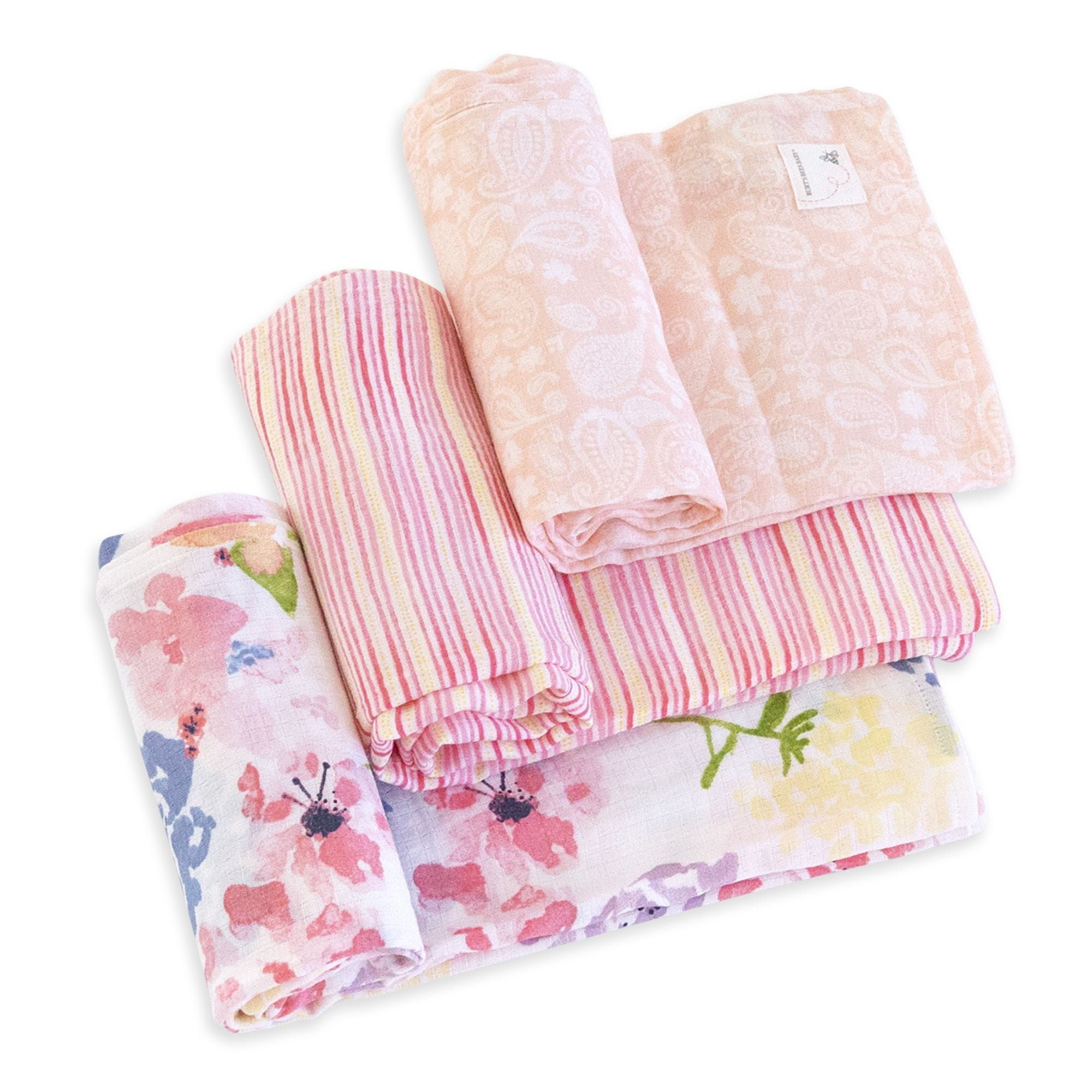 Watercolor Spring Bouquet Organic Cotton Woven Muslin Baby Swaddle Blankets  3 Pack 402890cc6