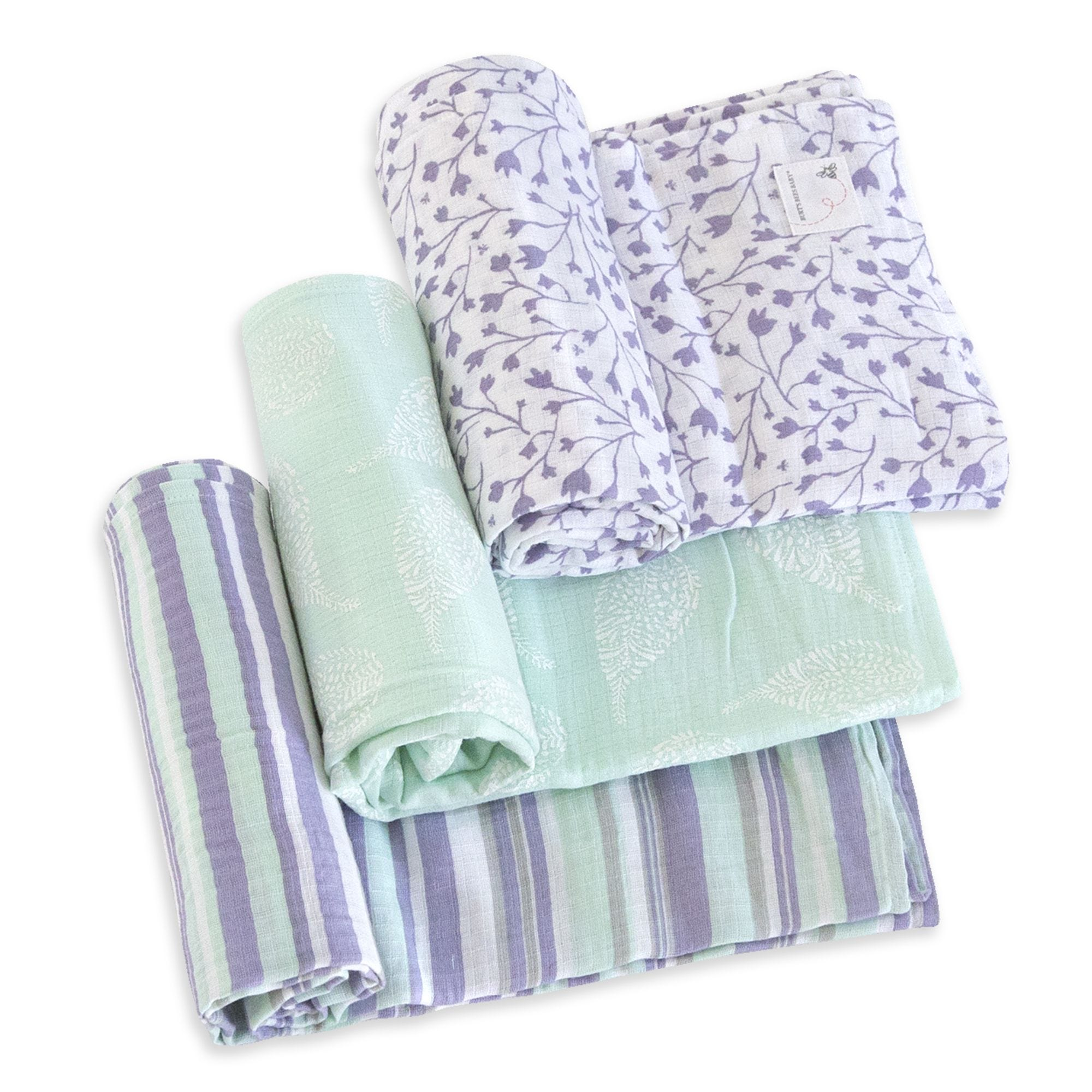16628c3eff2be Floral Forest Organic Cotton Woven Muslin Baby Swaddle Blankets 3 Pack