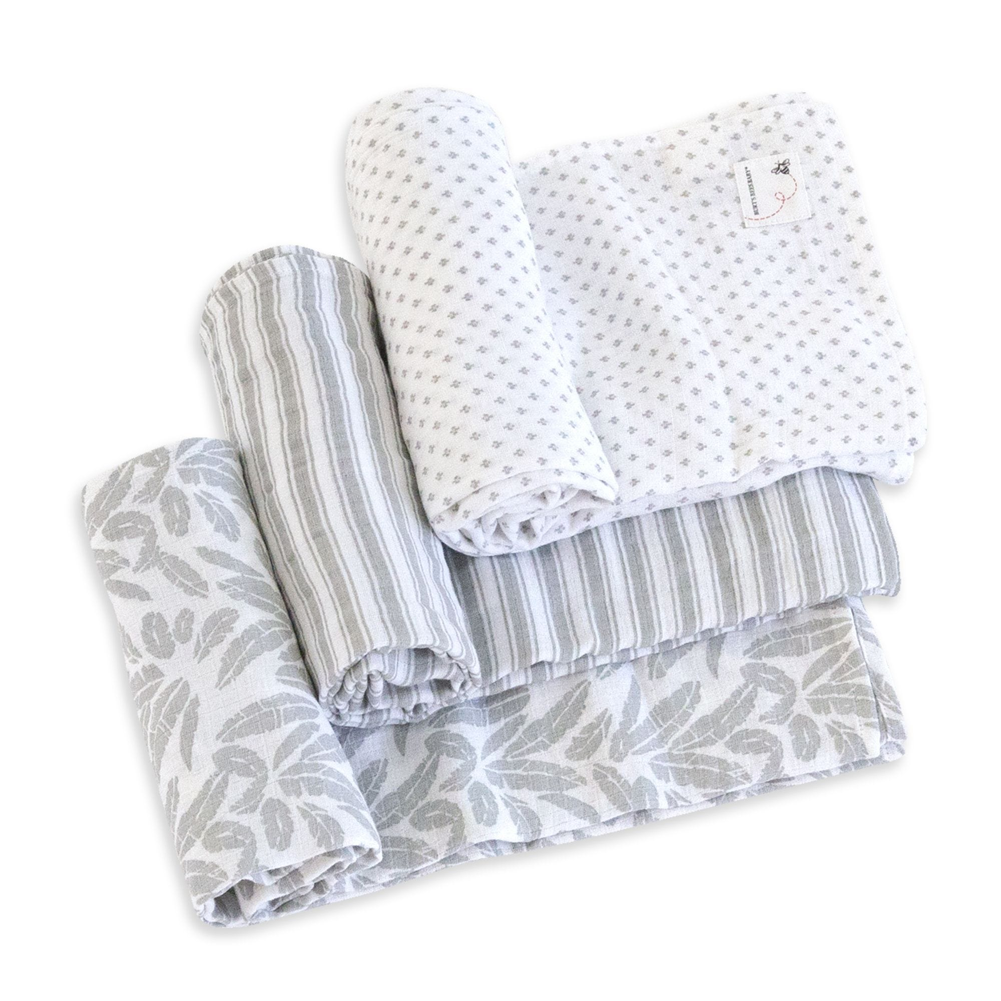 be60b0ed11dbd Dottie Bee Organic Cotton Woven Muslin Baby Swaddle Blankets 3 Pack Fog