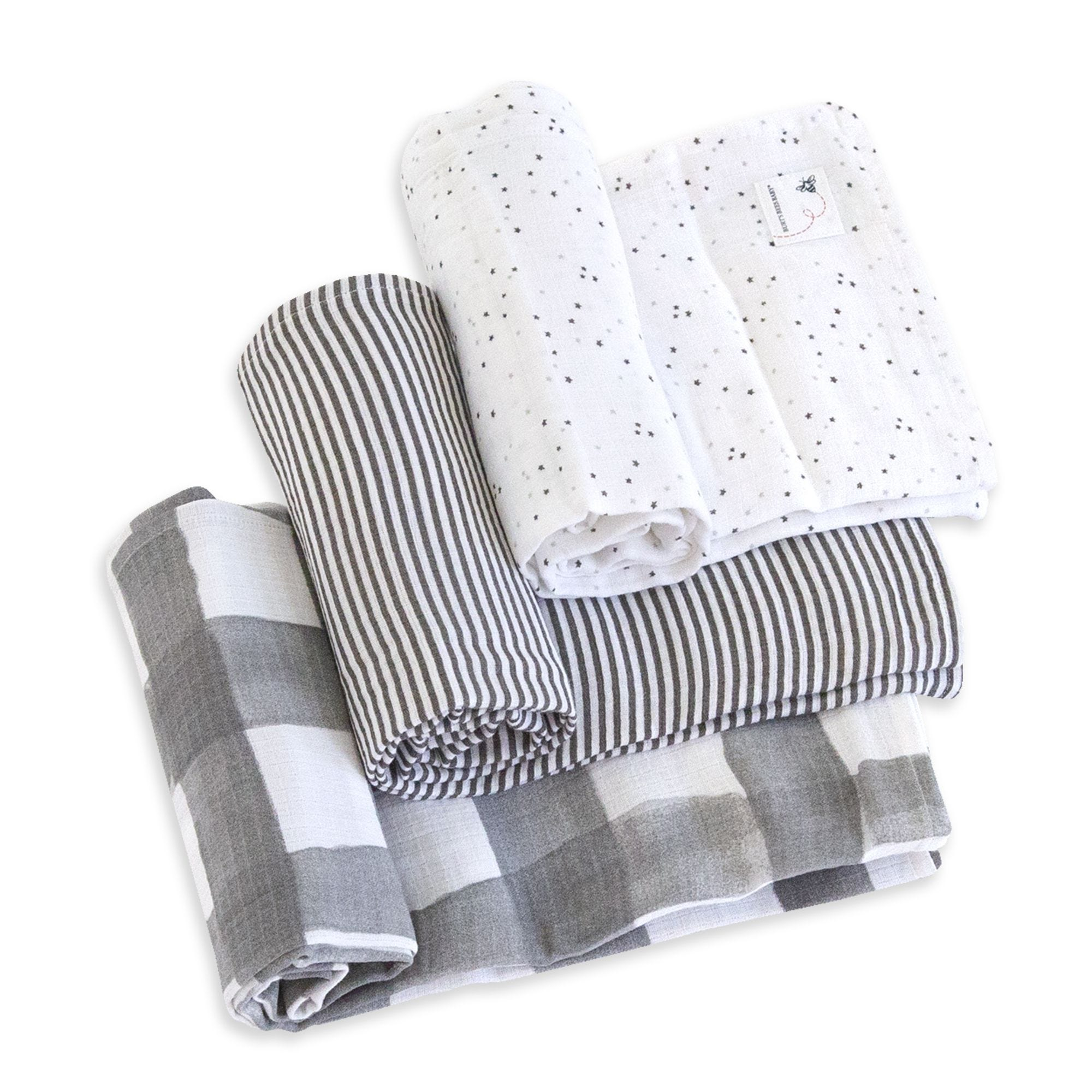 d88ae61a4ee93 Watercolor Starry Eyes Organic Cotton Woven Muslin Baby Swaddle Blankets 3  Pack