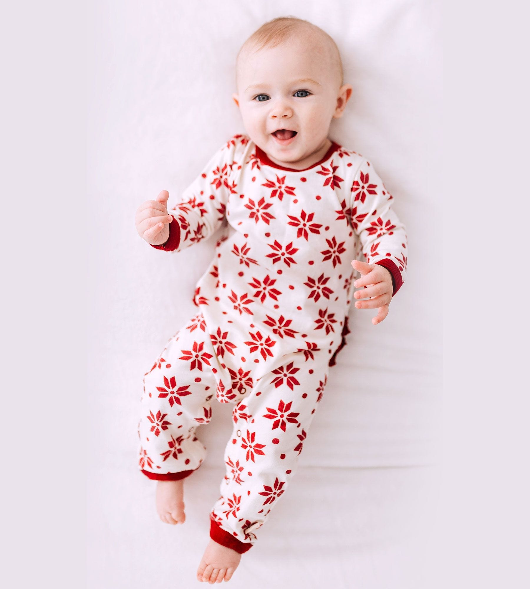 3008cd9bab66 Snowflake Ruffled Organic Baby Girls One Piece Jumpsuit
