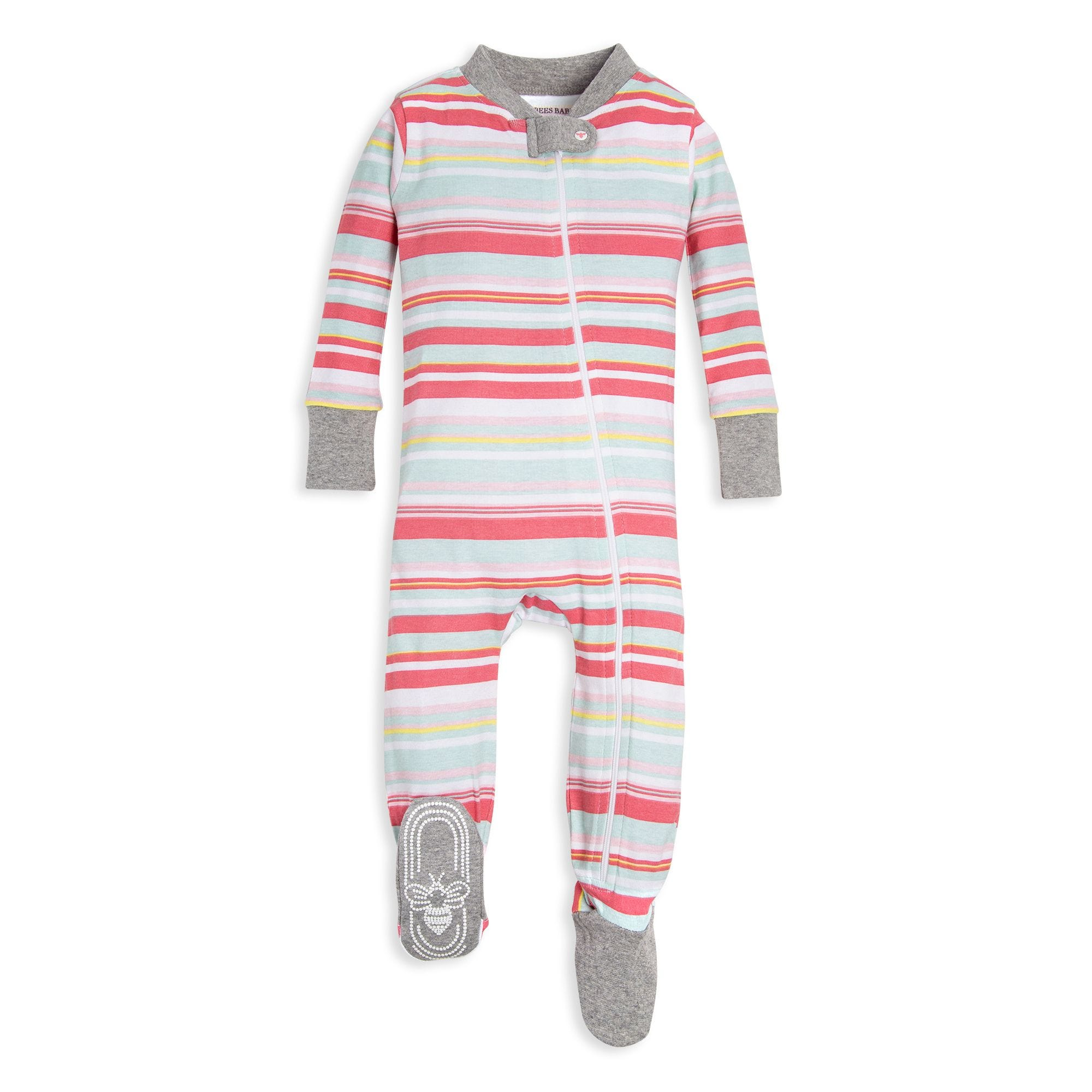 acc3f1268 Vintage Multi-Stripe Organic Baby Zip Up Footed Pajamas