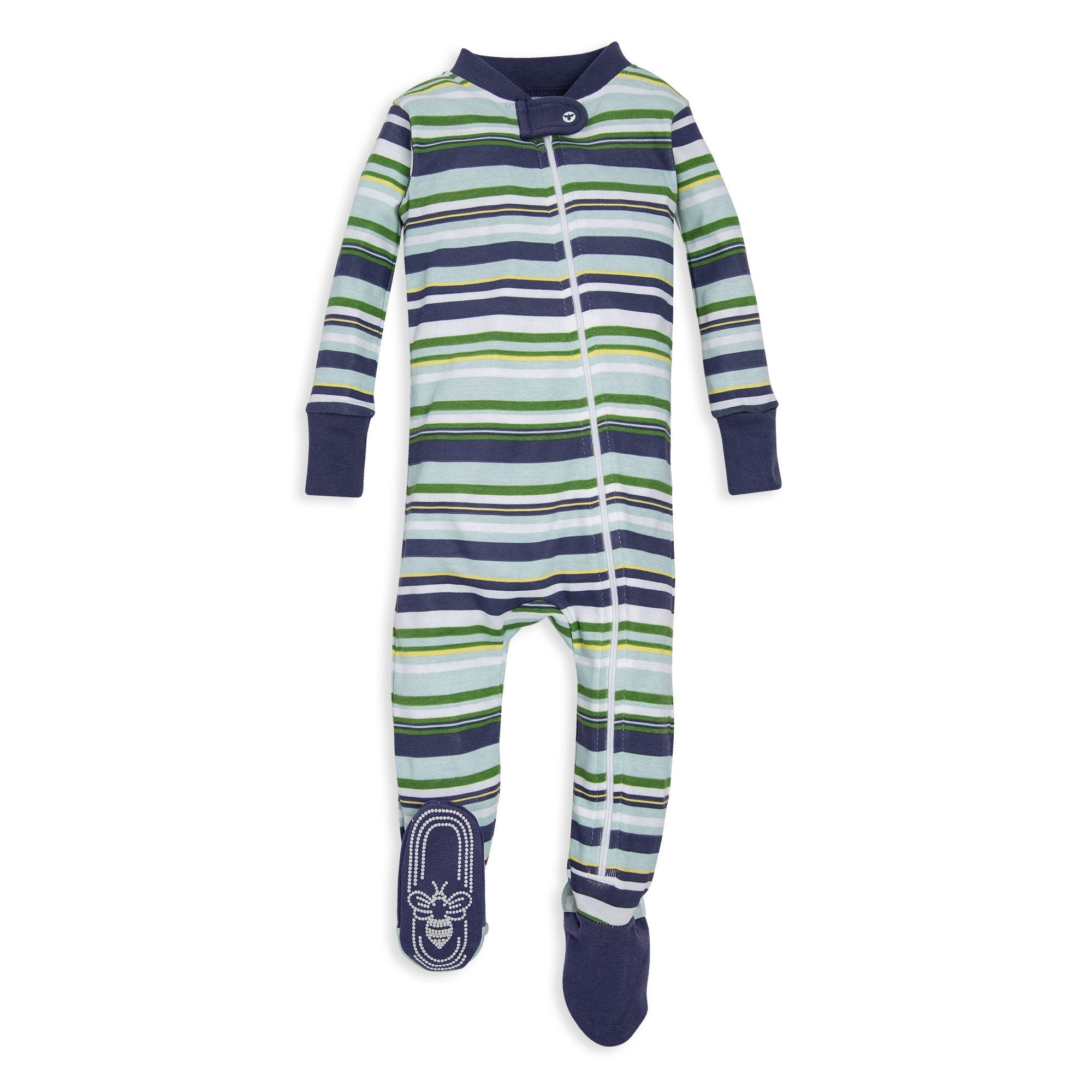 90dd432e1 Vintage Multi-Stripe Organic Baby Zip Up Footed Pajamas Indigo