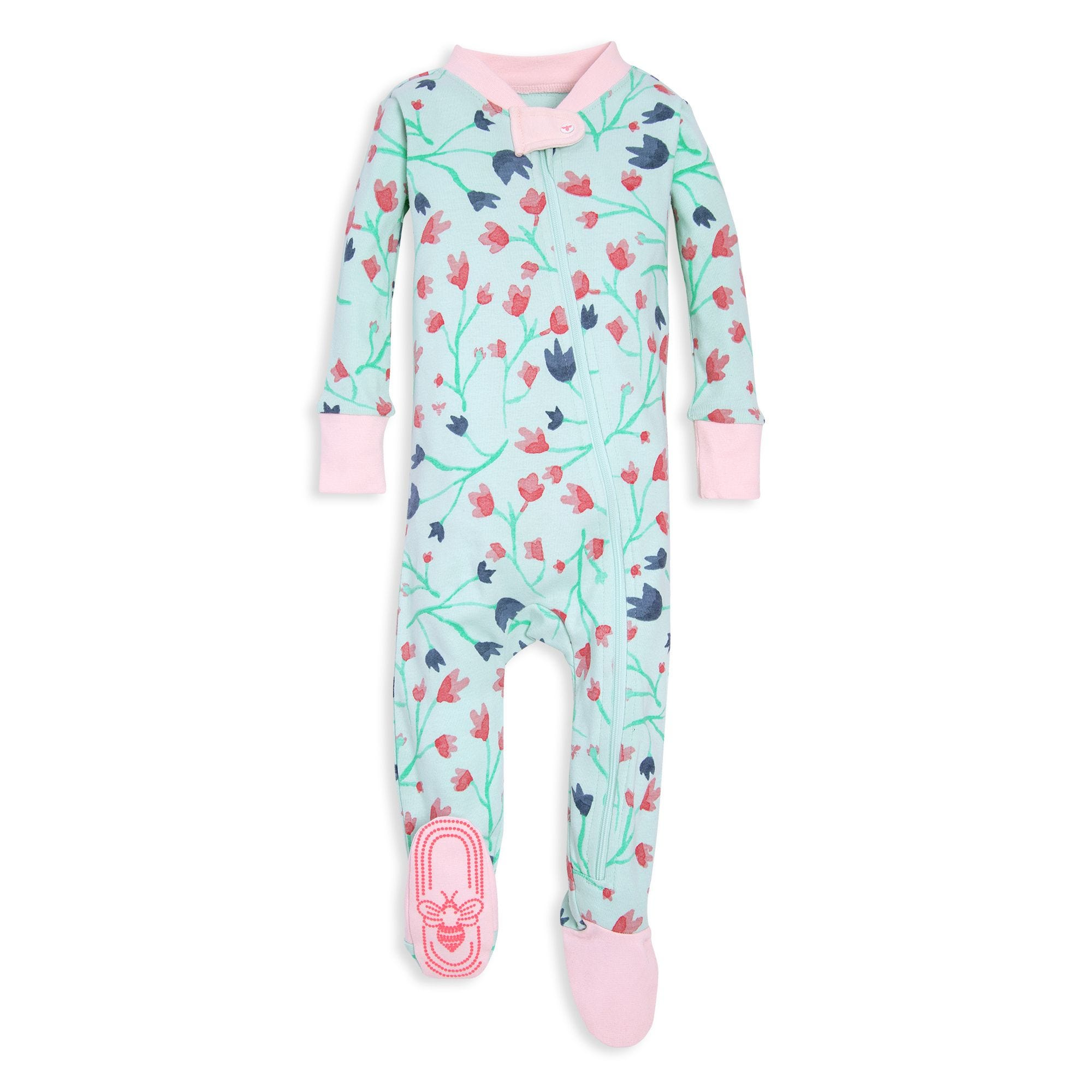 4609196c044c Bethel Woods Floral Print Organic Baby Zip Up Footed Pajamas