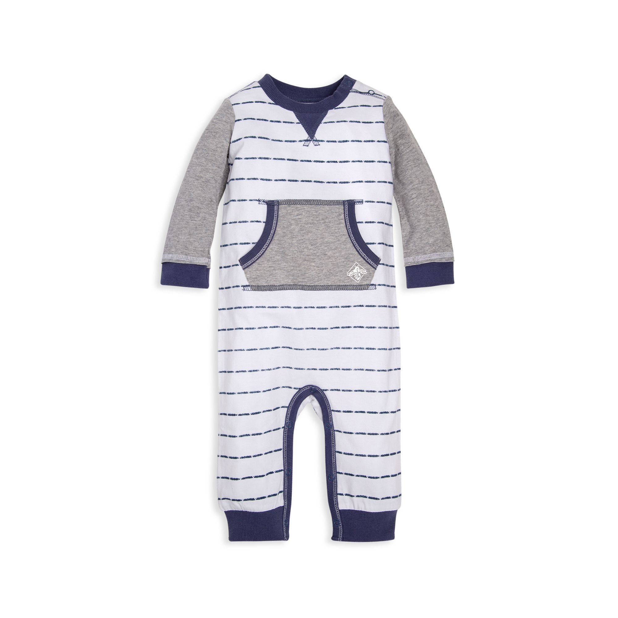 Organic Cotton Dashing Stripe Pocket Coverall