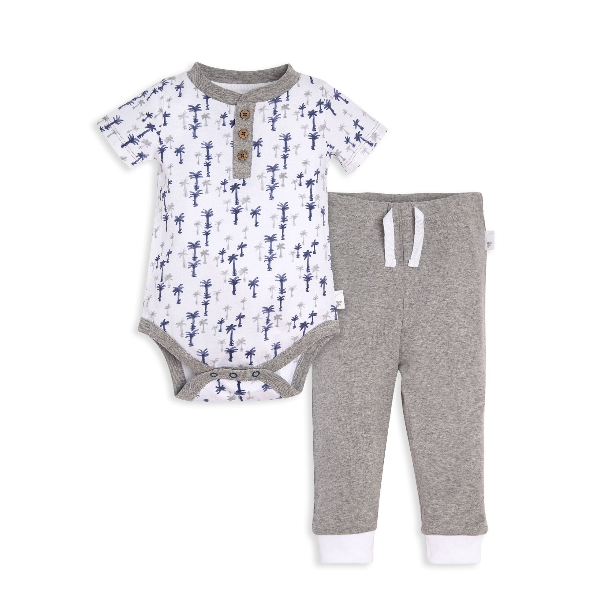 fa8e0fafcd62 Breezy Palm Trees Organic Baby Bodysuit and Pant Set