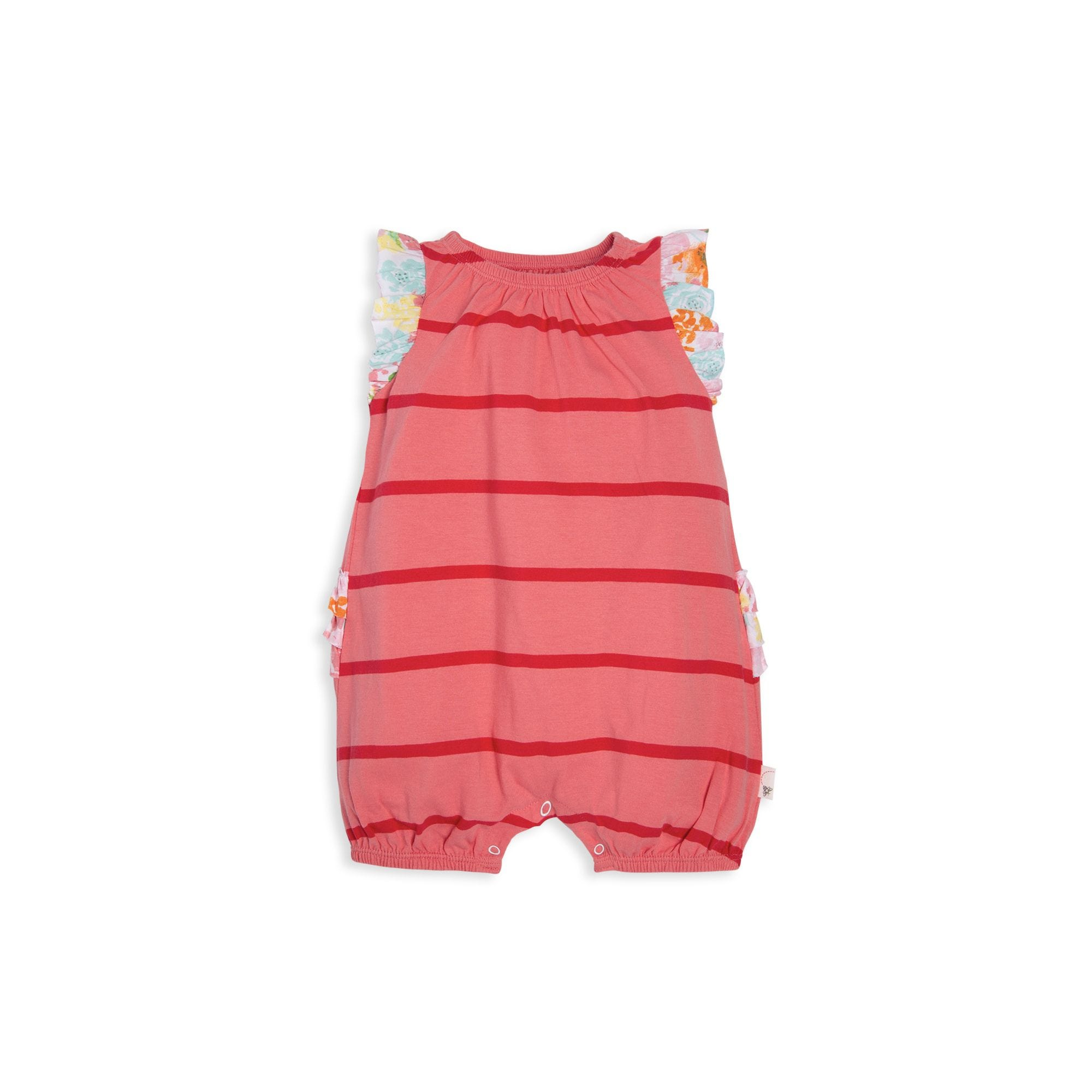 b9f0cb073b9 Ruffle Butt Striped Organic Baby Bubble Romper