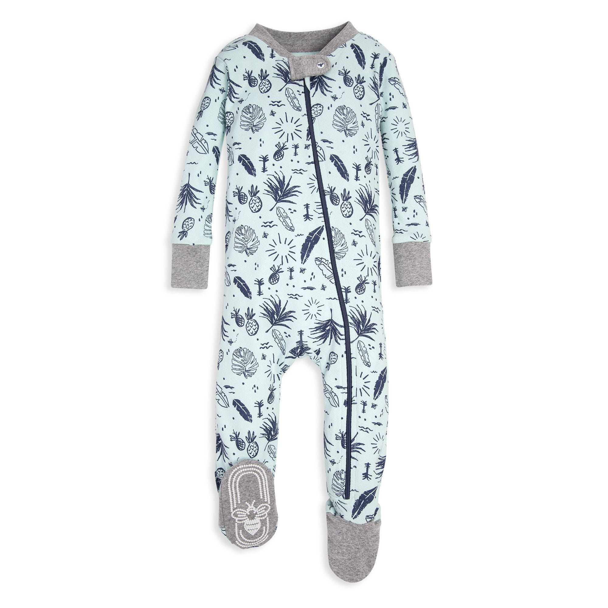 69daeb86169c Tropical Plants Print Organic Baby Zip Up Footed Pajamas