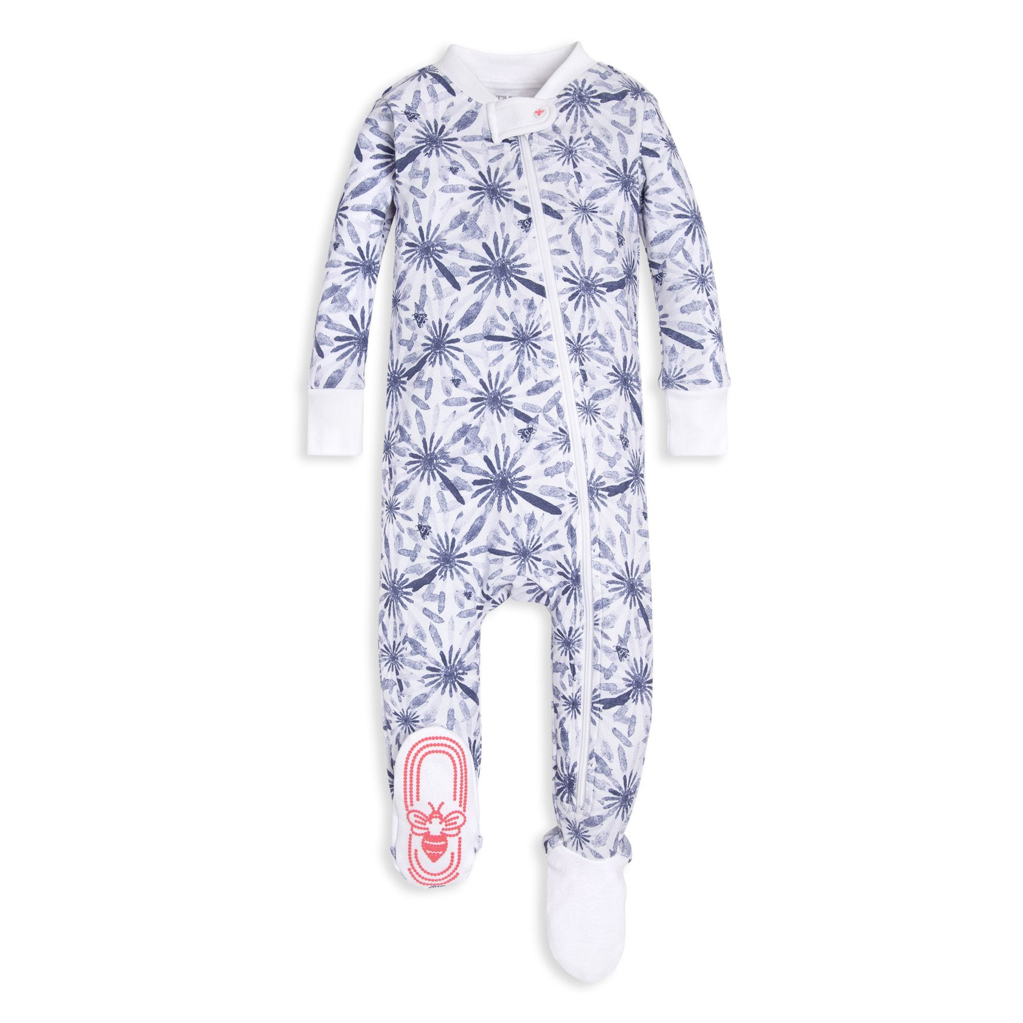 737d9510dadd Daisy Floral Print Organic Baby Zip Up Footed Pajamas