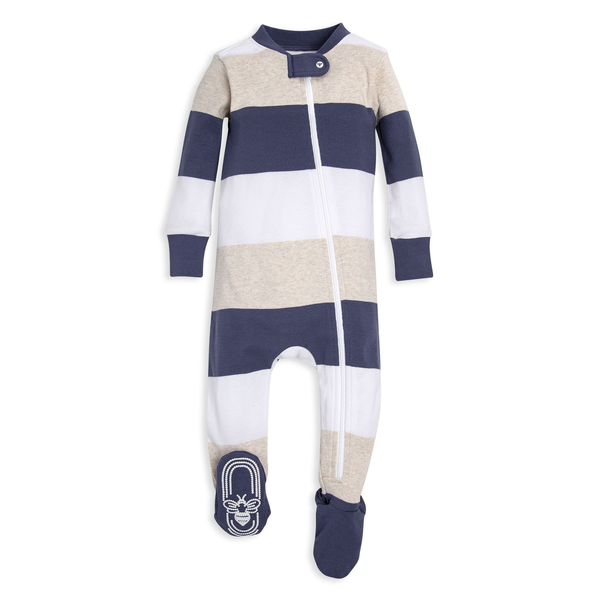 5f9fba11b Jumbo Multi Stripe Organic Baby Zip Up Footed Pajamas