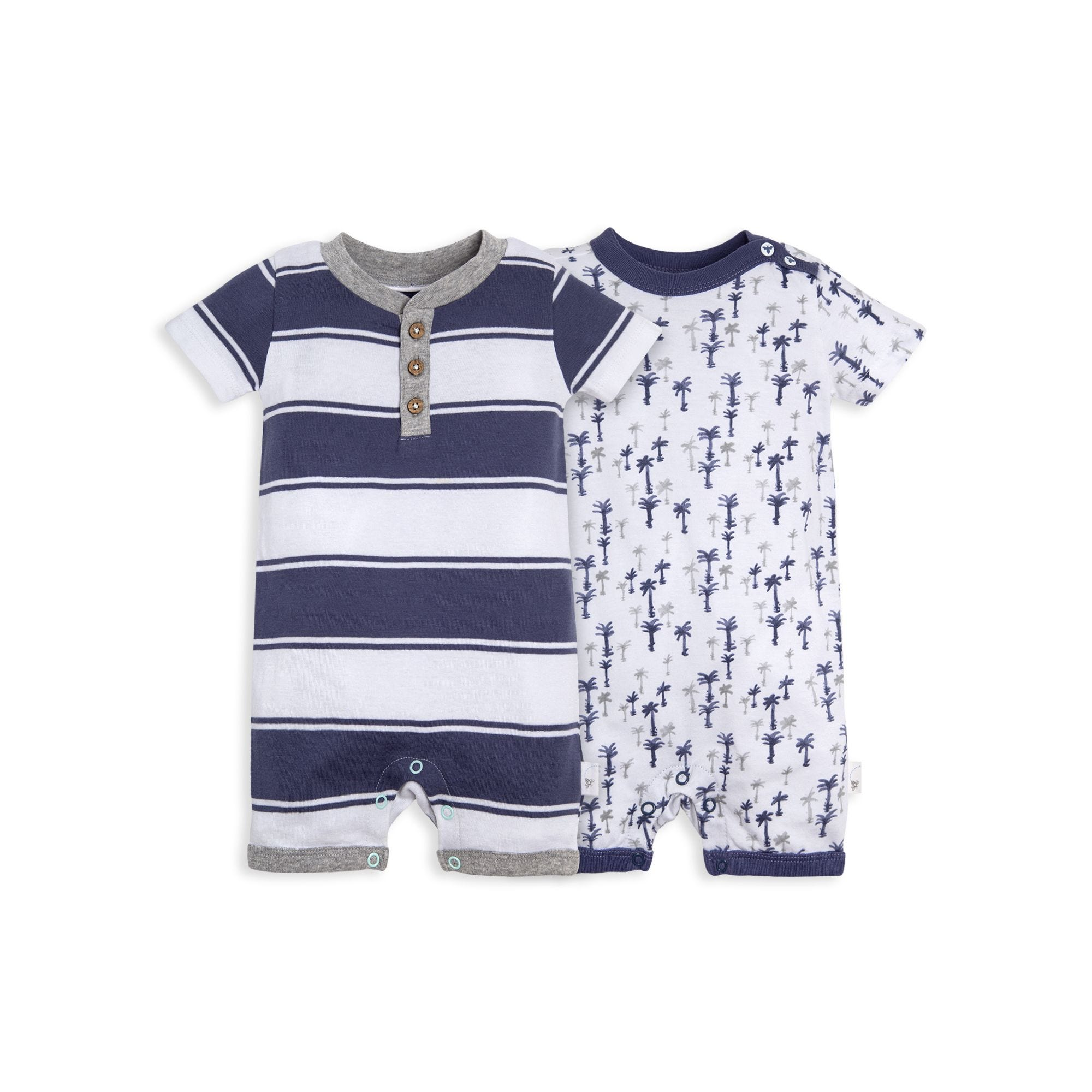 d3eecac22 Breezy Palm Tree Print and Stripe Organic Baby Romper 2 Pack