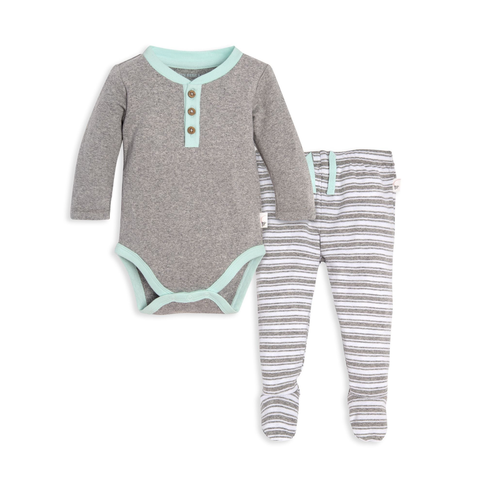 abb634a11997 Henley Organic Baby Long Sleeve Bodysuit   Micro Stripe Footed ...