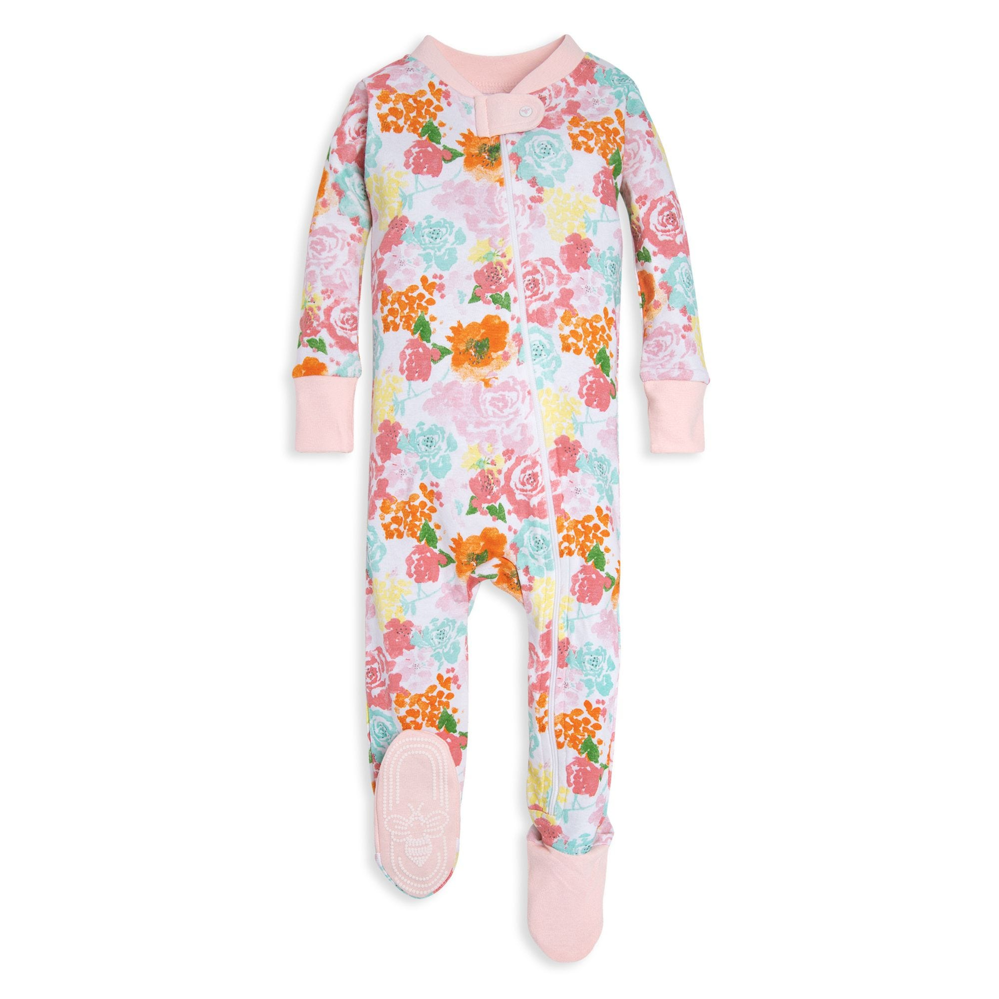 61fbeda14 Blooming Flowers Organic Baby Zip Up Footed Pajamas