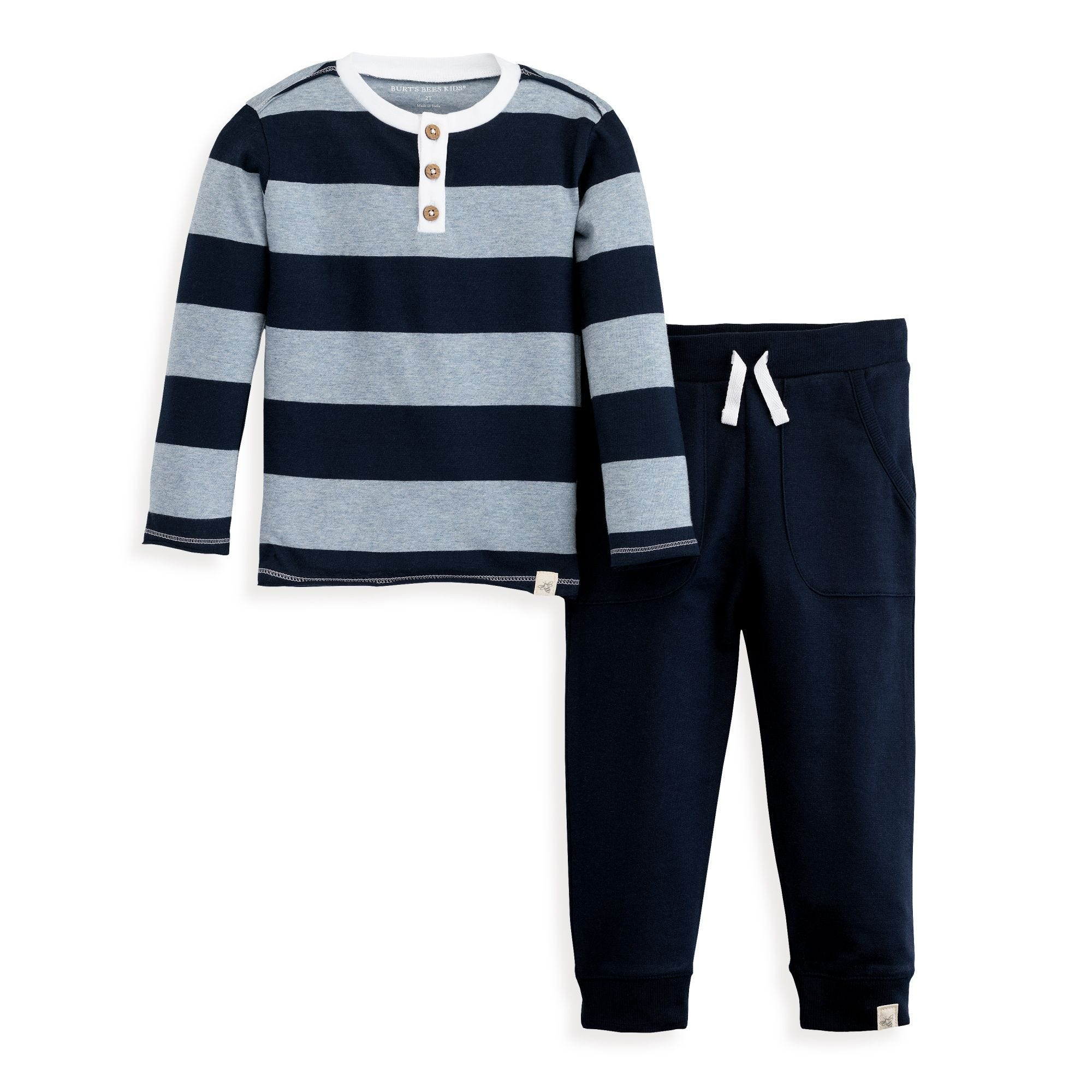 6a25bfd84 Rugby Stripe Henley Tee & Jogger Pant Organic Toddler Boys Set