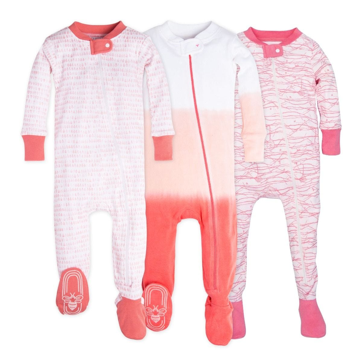 b94917cd3336 Set of 3 Organic Baby Girl Zip Up Footed Pajamas